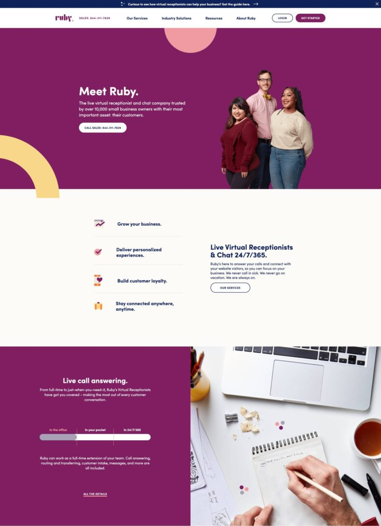 Thumbnail - Ruby Receptionists website screenshot as of April 2020