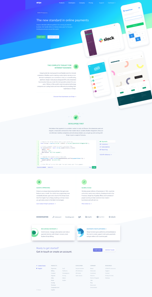 Screenshot of Stripe homepage May 2020