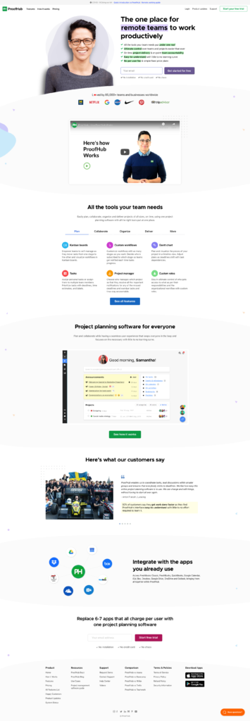 ProofHub homepage as of June 2020
